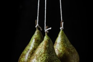 Isolated pears on black