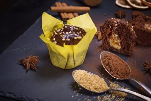 chocolate cake in yellow paper