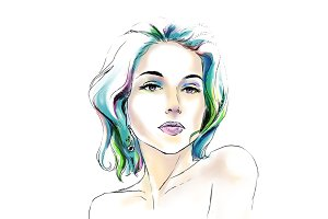 Watercolor fashion portrait of girl