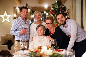Beautiful big family celebrating Christmas together.