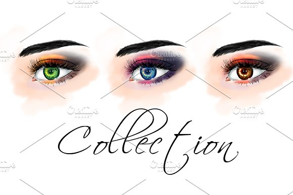 Set with eyes. Fashion illustration