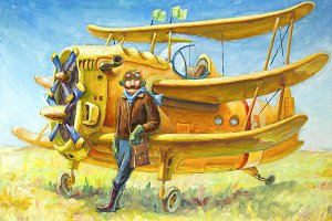 Oil: Pilot and His Plane