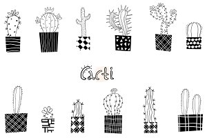 Modern abstract cacti plants clipart