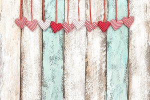 Red hearts decoration hanging