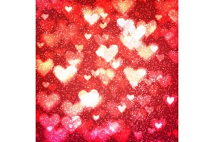 Abstract background with hearts and bokeh lights.