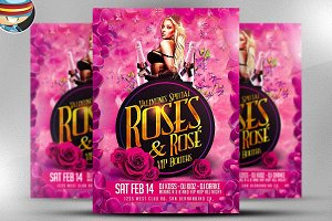 Roses and Rosé Flyer Template