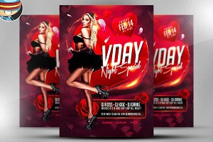 VDAY Night Special Flyer Template