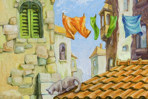Oil: Cats of the Mediterranean Town