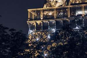 Eiffel Tower lights at night