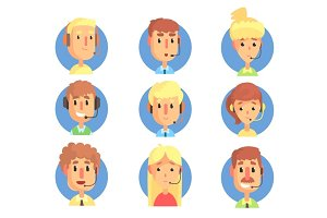 Cartoon male and female call centre operators with headset set, customer support service colorful vector illustrations
