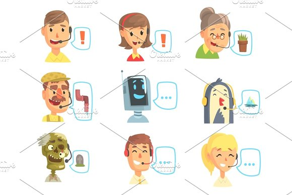 Set of funny call centre operators with headset, customer support service colorful vector illustrations
