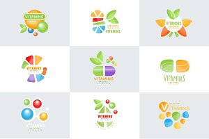 Vitamins logo set original design colorful vector Illustrations