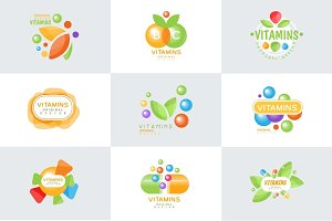 Vitamins logo set of colorful vector Illustrations