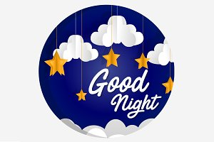 Good Night paper art illustration