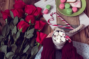 winter romantic breakfast