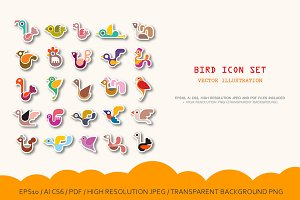 3 options Bird vector icon set