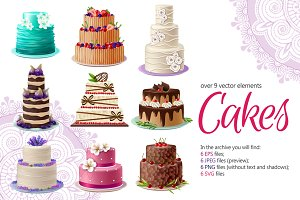 Cakes Vector Set