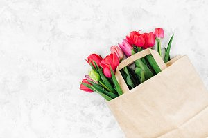 Tulips in paper bag