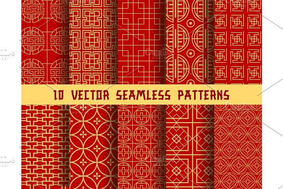 Chinese Red Golden Vector Asian Oriental Patterns Illustrations Adorable Asian Patterns