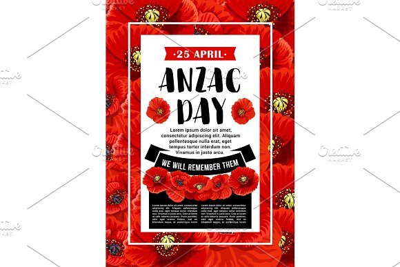 Anzac Day 25 April red poppy vector poster