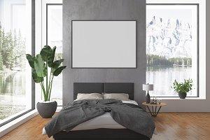 Bedroom scene - blank wall mockup