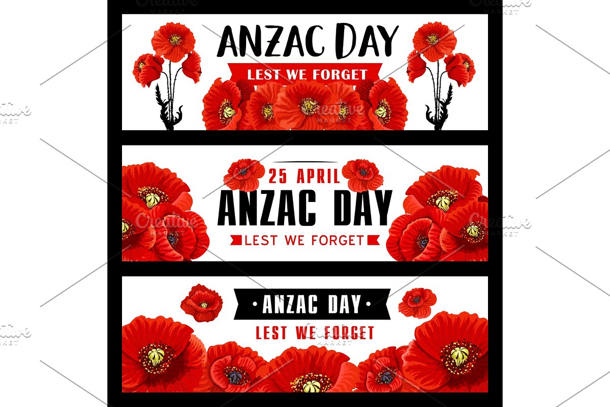 Anzac Remembrance Day Banner With Red Poppy Flower Custom