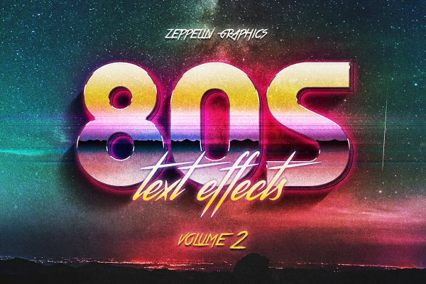 Photoshop Layer Styles: Zeppelin Graphics - 80s Text Effects Vol.2