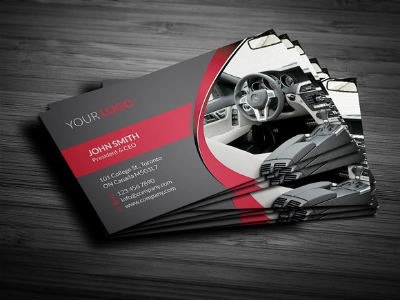 Rent A Car Business Card Business Card Templates Creative Market - Mechanic business cards templates free