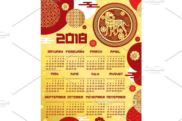 chinese new year calendar template with zodiac dog illustrations - Chinese New Year Calendar