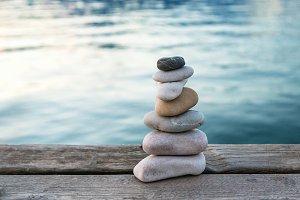 Balanced stones pyramid