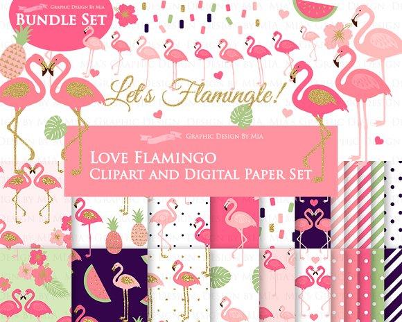 Flamingo Coral, Glitter Gold