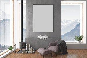 Interior scene - blank wall mockup