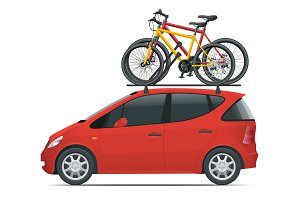 Side view flat Mini car with two bicycles mounted on the roof rack. Flat style vector illustration isolated on white background.