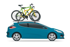 Side view station wagon car with two bicycles mounted on the roof rack. Flat style vector illustration isolated on white background.