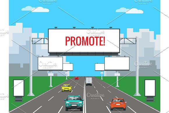 Big Blank Billboard, Poster, Board, Banner template with urban landscape. Large promotional banner with cars and city street houses.