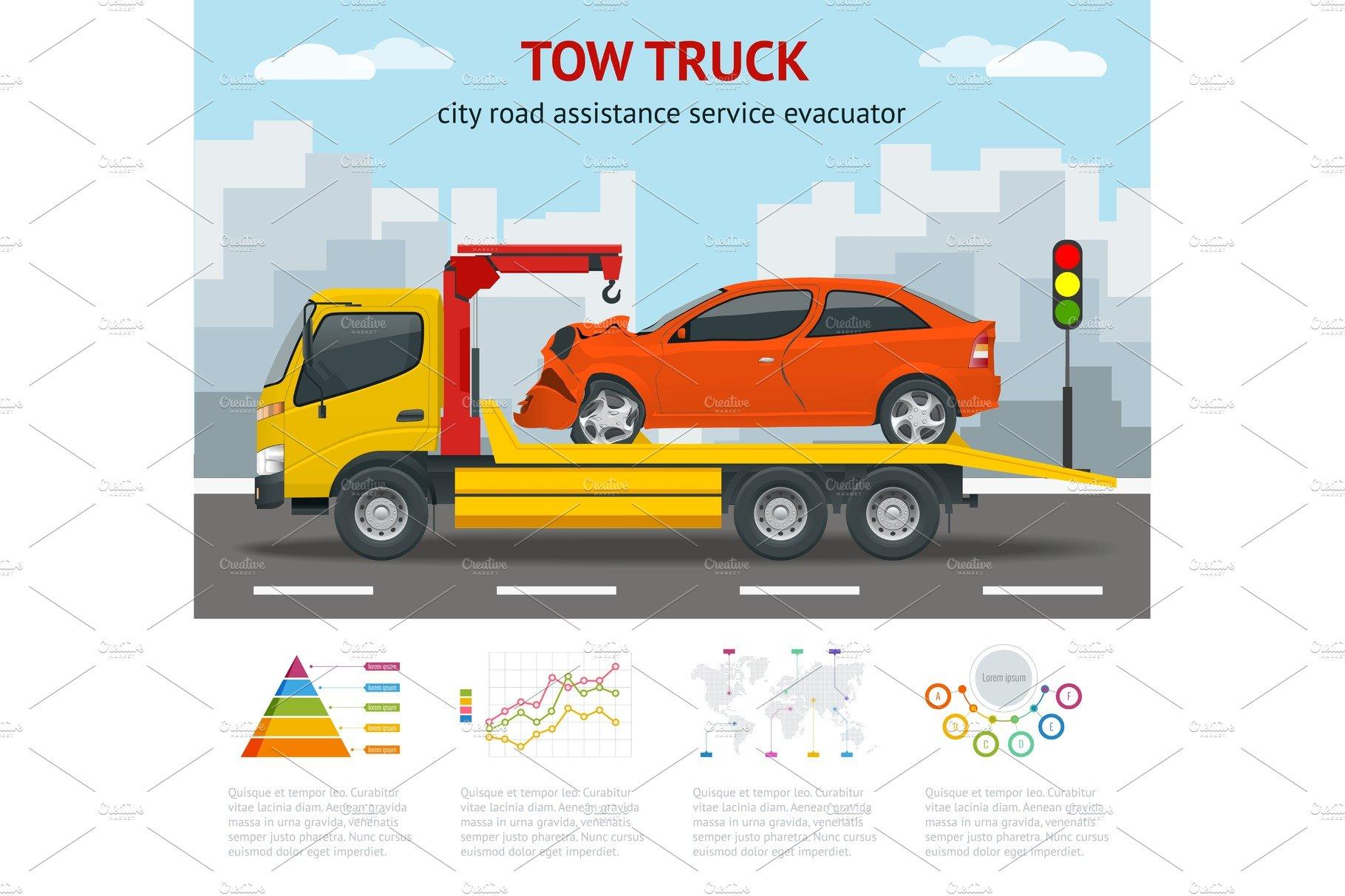 Cartoon tow truck illustrations creative market tow truck city road assistance service evacuator colourmoves Gallery
