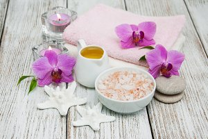 Spa concept with pink orchids