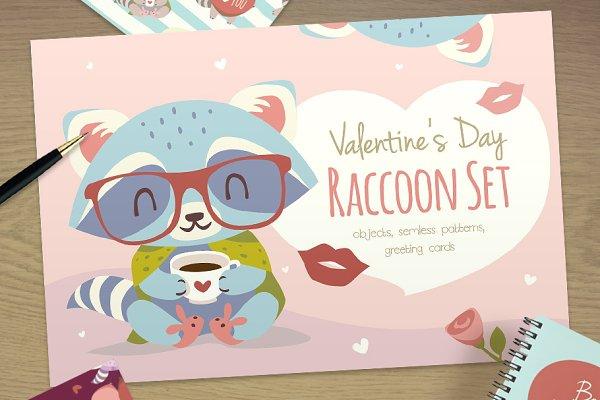St. Valentine's Day Raccoon Set