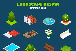 Landscape isometric icons set