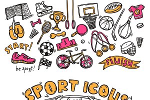 Sport doodle sketch icons