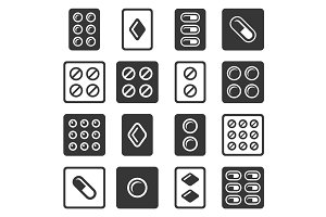 Drug Pills in Blister Icons Set