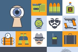Spy agency flat icons