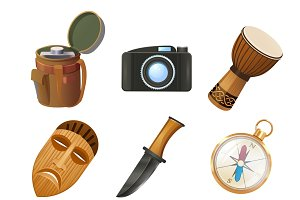 African jungle travel icons set