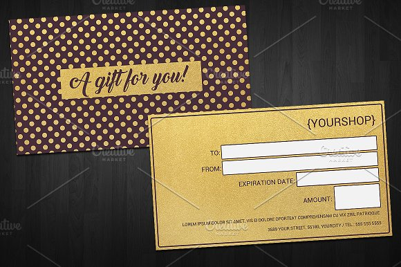 Gold Gift Voucher Card Template