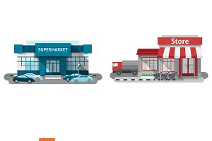 Shops buildings flat set