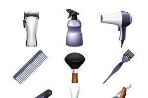 Hairdresser accessories icons set