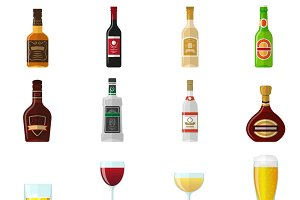 Alcohol flat icons set
