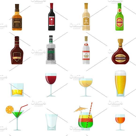 Alcohol flat icons set