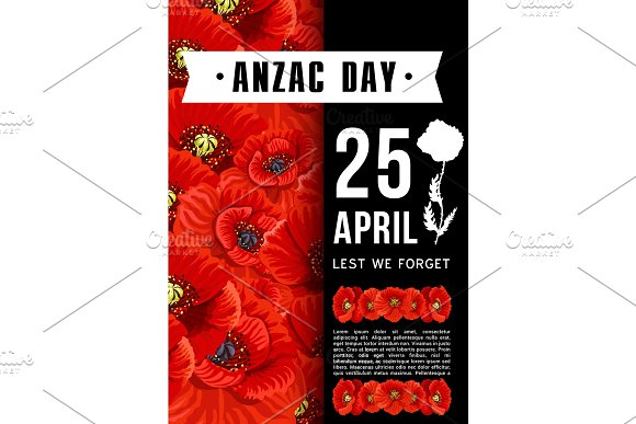 Anzac Day Australian Memory Red Poppy Vector Card