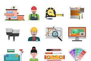 Interior design flat icons